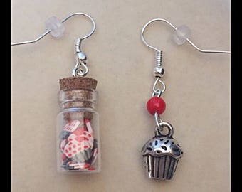 "Mismatched earrings ""gourmet muffin"""