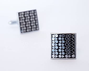 Silver pattern square cufflinks