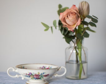 Vintage Double Handle Floral Tea Cup - Unmarked