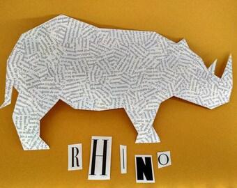 Rhino - Paper collage geometric illustration Board