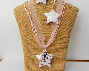 Necklace + earrings pink stars
