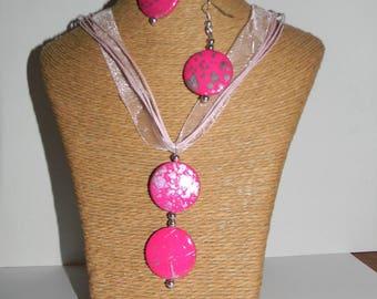 Organza necklace + earrings pink