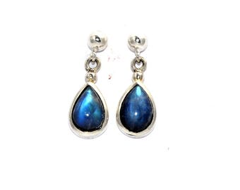 Rainbow Moonstone Medium Teardrop 925 Silver Drop earrings