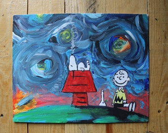 Snoopy Gets Lost in Space, Acrylic on Canvas.