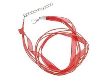 5 x Silk & Cotton Cord Necklace - Bright Red - C0195
