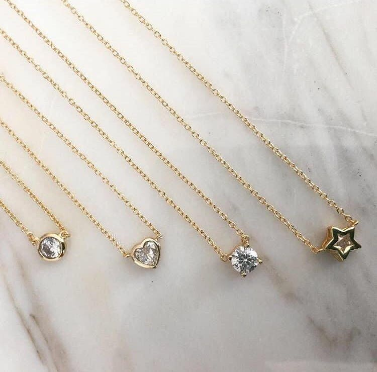 Delicate heart cz necklace choker with tiny diamond pendant 18k delicate heart cz necklace choker with tiny diamond pendant 18k gold plated 18k aloadofball Images