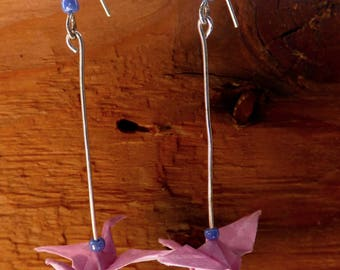 Origami crane pink earrings
