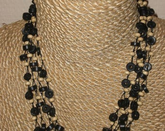 Black and white wood beaded necklace