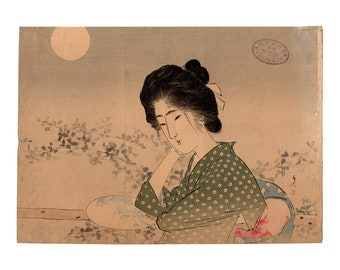 Moonlit night (Tsutsui Toshimine) N.1 kuchi-e woodblock print