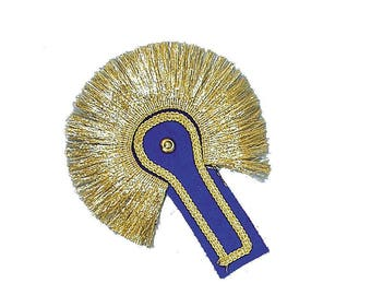 Epaulette sewing blue and gold