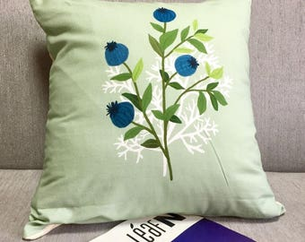 Pastel Blueberry Decorative Pillow Cover