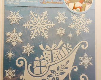 14 stickers decorations glass - glitter White - Christmas gifts - snow sled