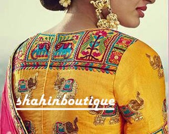 Handmade Rajasthani Yellow Traditional Indian thread work silk saree Blouse