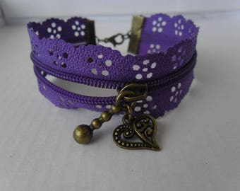 Purple flower zipper bracelet