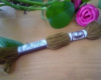 Cotton embroidery yarn skein khaki DMC