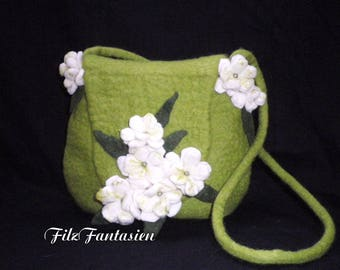 Felt bag with white flowers, Nuno felted bag, shoulder bag, evening bag, handbag, felted bag