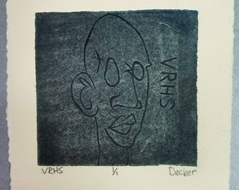 Face Print Linocut in Blue on Tan Paper