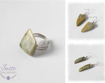Soapstone, ring and Earrings set made with natural stone