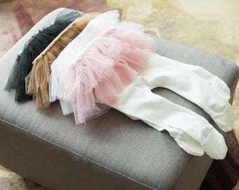 Babygirl pants with tutu skirt pink skirt baby newborn cute