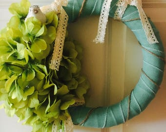 Small Blue, Brown, Grey, Shabby Chic Wreath