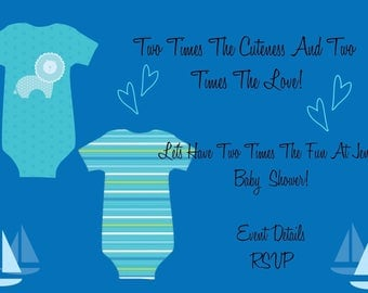 Twin Baby Boys Baby Shower Invitations *(can be adjusted for twin baby girls or twins baby boy and baby girl)*