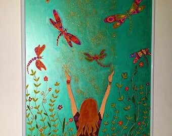 Dragonflies in the sunshine , turquoise glass painting acrylic living room decor children room nursery