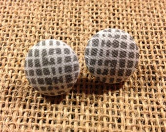 Grid - Fabric Button Earrings