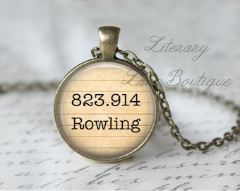 Rowling '823.914 Rowling' Dewey Decimal, Library Books, Reading Necklace or Keyring, Keychain.