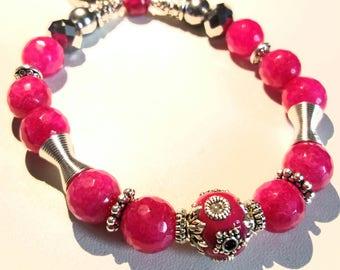 "Natural semi precious gemstone mineral spacer silver women bracelet ""LOLLI POP"" pink elastic glass bead Tibetan agate"