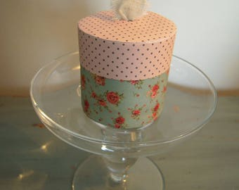 Box cylindrical paper, cotton Ribbon or lace