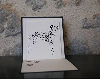 Kirigami card embossed Dalmatian dog