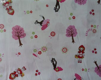 C775 little Red Riding Hood fabric / pink coupon trees 35x50cm
