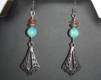 Variscite, Carnelian earrings with scroll work and
