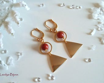 Natural red Jasper earrings ethnic Chic - geometric - gold Triangle & circle-