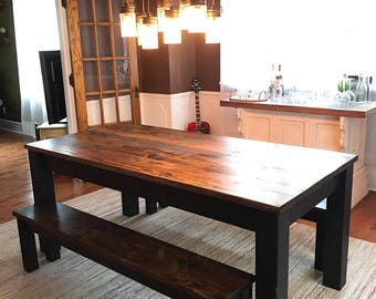 Rustic Table and Matching Benches