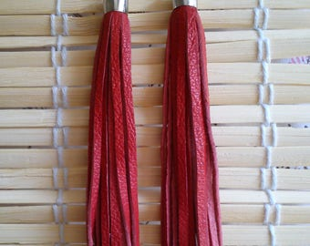 """Striped earrings """"desi red leather"""""""