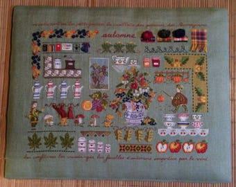 Embroidery season painting autumn on linen