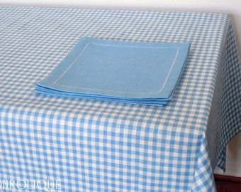 linen checkered tablecloth with matching napkins 141x206 cm, linen tablecloth, rustic tablecloth, home decor, rustic decor, for picnic