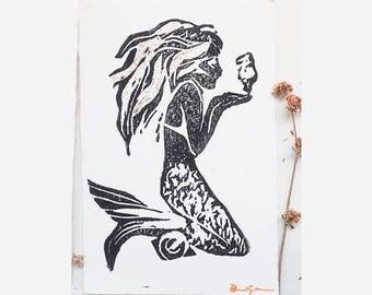 Handmade Block Print Mermaid