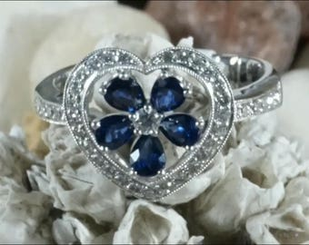 Natural blue sapphires heart shape with accent diamonds