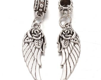 European metal silver wing bead pendant 43 x 11 mm