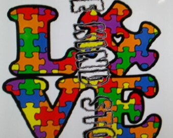 Autism love iron-on transfer