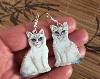 """""""Cats"""" earrings made of cold porcelain"""