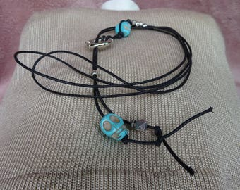 Necklace - Tie Pierre Turquoise Blue and silver beads