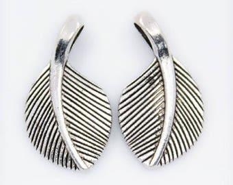 Pendant leaf, silver, 28 x 15 mm, hole: 6 x 3 mm