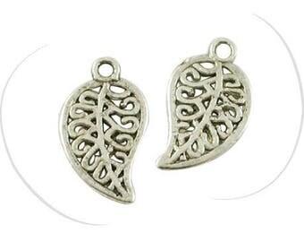 Set of 10 pendants, leaf, silver, 18 x 10 mm, hole: 1.5 mm
