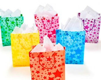12 pack Medium Sized Frosted Star Gift Bags Assorted Colors Bags, Shopping, Merchandise, Party, Gift Bags