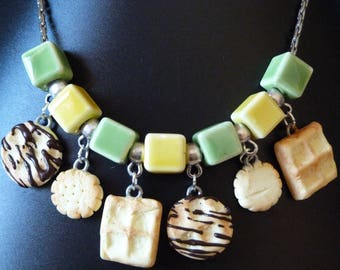 DELICIOUS CUPCAKE POLYMER CLAY NECKLACE AND CERAMIC BEADS