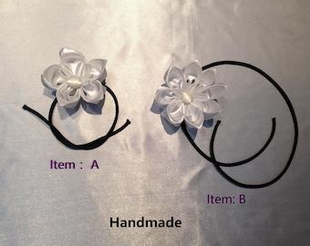 White Kanzashi flower headband for baby, toddler, girl, birthday gift, wedding gift for bride
