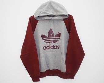 Vintage 90s Adidas Trefoil Logo Red Gray Cotton Polyester Hoodie Oversized Sweater Jacket Size M